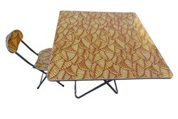 Folding Dining Table Wood Top with Chair-100x100-Tree Leaves