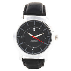 Round Casual Watches Swiss Trend Black Dial 3D Edition Mens Wrist Watch With Genu