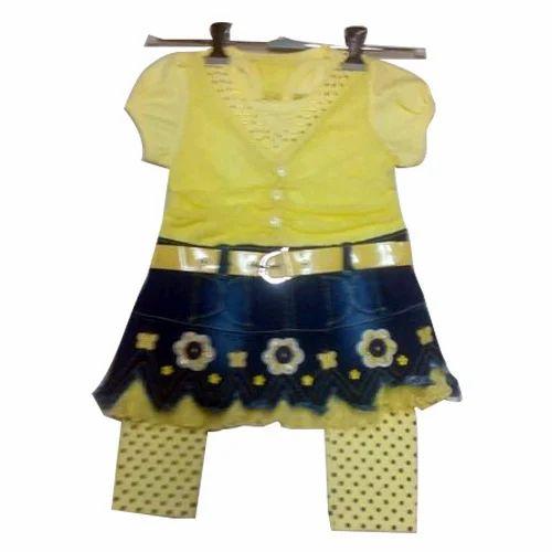 17dbbd799f Yellow And Blue Hosiery Kids Fancy Denim Dress