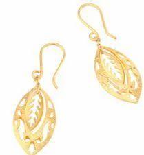 Leaf Design Gold Hoop Earrings