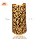 Traditional Enamel Gold Plated Silver Cuff Bracelet
