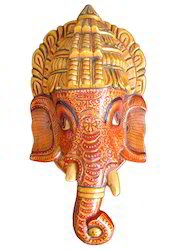 Wooden Ganesha Head Statue