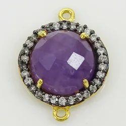 Amethyst Gemstone Pave Cz Set Connector
