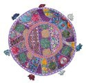 Round Indian Embroidered Patchwork Ottoman Pouf Cover