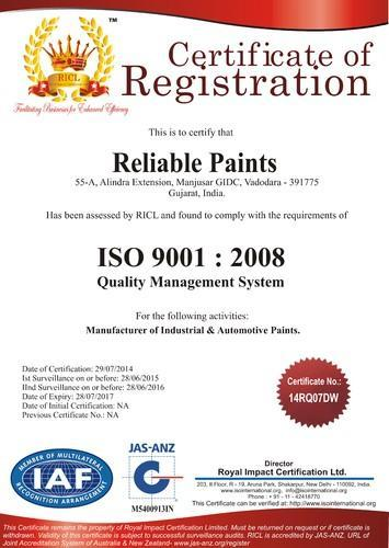 Reliable Paints - Manufacturer from Vadodara, India | About Us