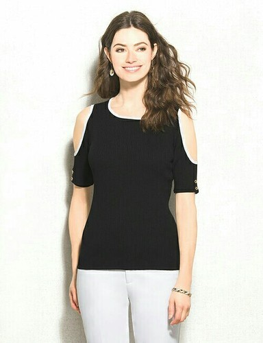 ed9f8b60065 Cotton Black Cold Shoulder Casual Top