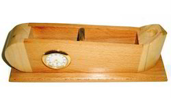 Wooden Table Top With Clock