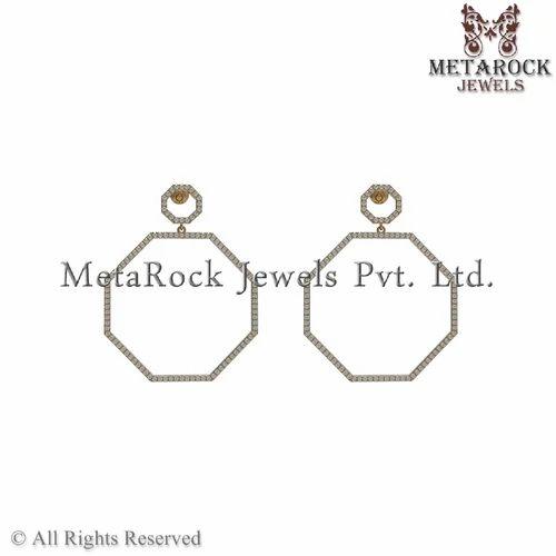 Modern Designer Pave Diamond Gold Earring Jewelry