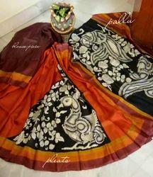 Hand Paint Kalamkari Murshidabad Silk Party Wear Saree