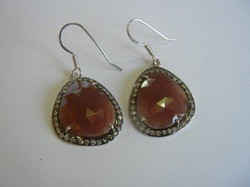 Natural Orange Sapphire Silver Earring