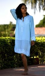 0dca0a37d52 Sky Blue Embroidered Dress