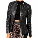 Full Sleeve Plain Women Black Leather Jacket