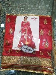 Zari Party wear Red Silk Saree, Machine Made