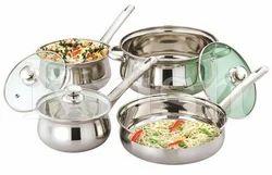 Silver Rajwadi Cookware Set With Steel Handle