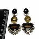 Bezel Setting Designer Semi Precious Sterling Silver Earring