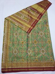 Hand Crafted Pure Silk Patola Saree, Dryclean Only, 6.5mtrs