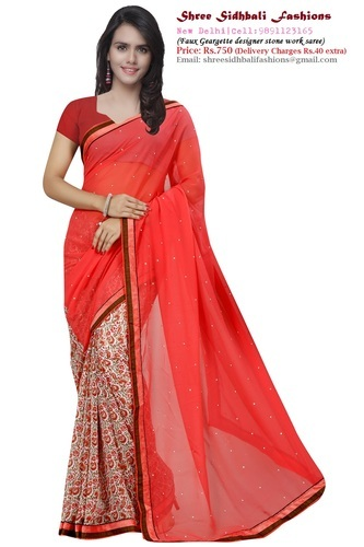 60294cf24d Red Color Faux Georgette Saree With Stone Work at Rs 799 /piece(s ...