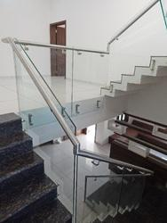 steel railing with glass for stair