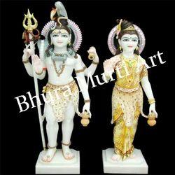 White Marble Shiv Parvati Statue