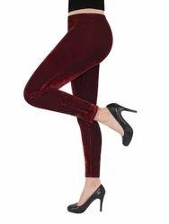 Kyron Fashion Maroon Velvet Leggings