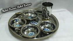 Steel Brass Two Tone Lazer Printed Thali Set