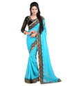 Georgette Border Indian Sarees With Blouse Piece