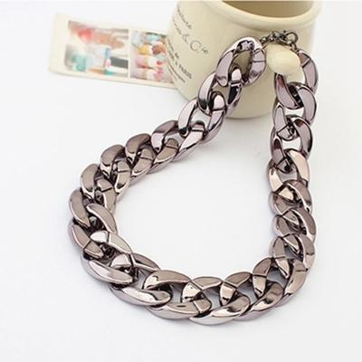 adda7bfb2875 Shiny Light Black Chunky Aluminium Curb Chain Necklace