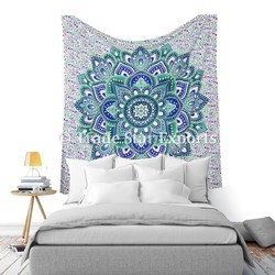 Flower Printed Pure Cotton Indian Lotus Wall Hanging Tapestry Mandala Tapestry