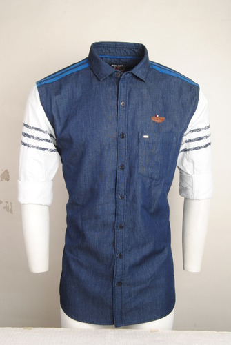 Blue With White Sleeves Casual Shirt For Men