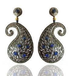 The Mask Jewellery Sterling Silver Diamond And Blue Sapphire Pave Earring, Size: 35 Mm Length Approx