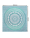 Turquoise Green Floral Printed Ombre Mandala Bedsheet Tapestry