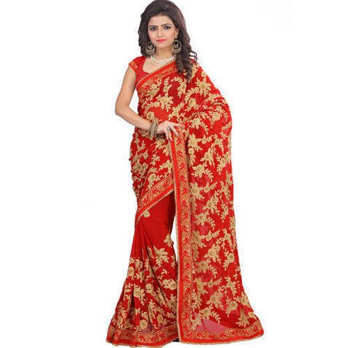 Red Chikankari Designer Embroidery Work Saree With Blouse Piece Rs