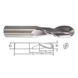Carbide High Helix 2 Flute Ball Nose End-Mills