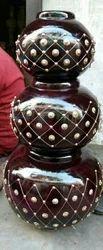 Brown Wooden Matka Flower Vase