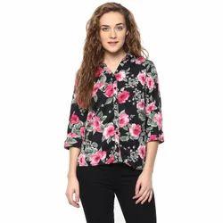 Ladies Polyester Black Designer Shirt, Size: M