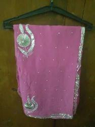 Pink Chiffon Designer Sarees