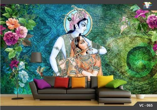 3d Lord Krishna Customize Wallpaper At Rs 180 Square Feet