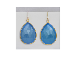 Blue Chalcedony Bezel Set Earring