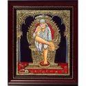 Wooden (frame) Shirdi Sai Tanjore Painting, For Interior Decor