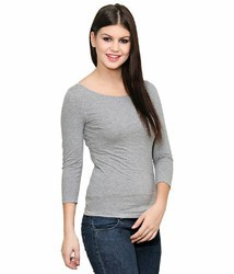 Gray Girls Cotton Tops