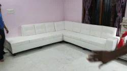 L Shape Sofa Set In White Leather