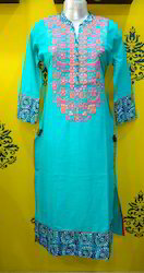 Stand Collar Slub Cotton Kurti