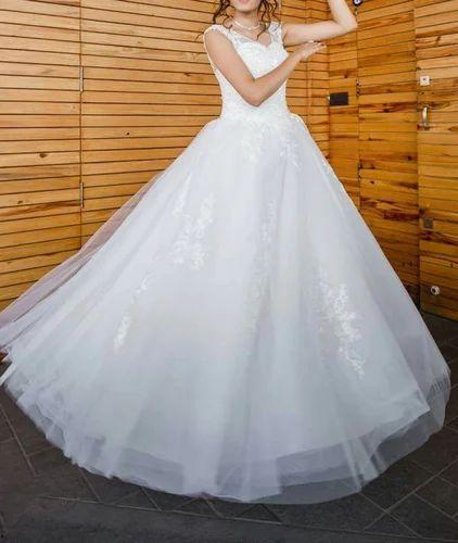 White Satin Wedding Gown