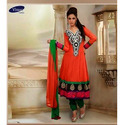 Semi-stitched Orange Fancy Ladies Embroidery Suit