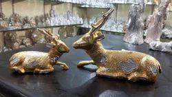 Golden & White Aluminum Deer Set, Size/dimension: Length : 6.5, Width : 15, for Exterior Decor