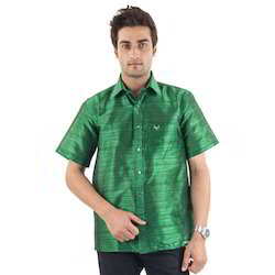 Green Mens Silk Shirt