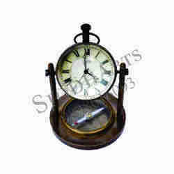 Brass Table Clock With Brass Compass