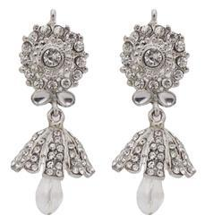 Jewelmaze Crystal Studded Silver Plated Jhumki Earrings
