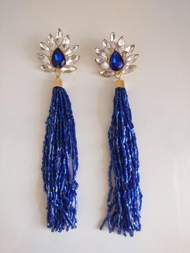 f2c29f8f4 Zylph Blue And Green Rhinestone Crystal Tassel Earrings, Rs 180 ...