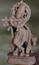 Chalk Stone Statue Of Lord Krishna